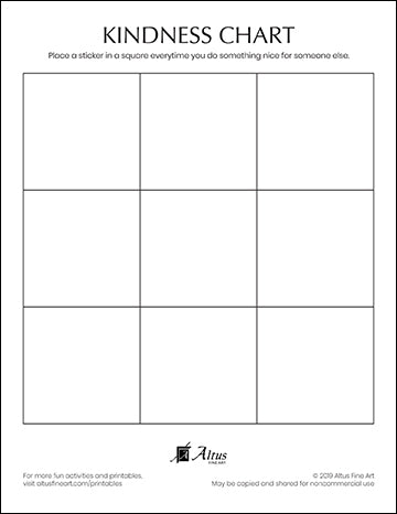 Blank Kindness Chart Free Printable for Stickers