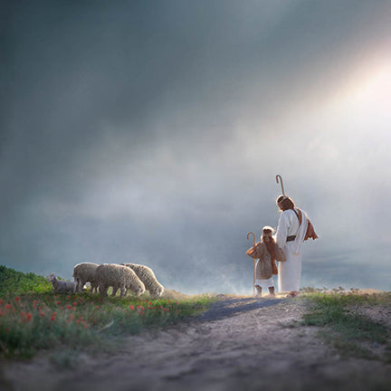 Christ and child walking on path in field of sheep