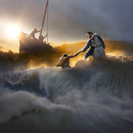 Christ helps Peter out of the crashing waves with boat in background