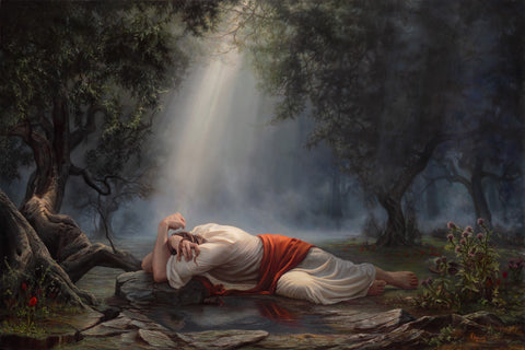 Jesus Christ laying on the ground suffering in the Garden of Gethsemane.