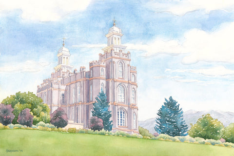 Watercolor painting of the Logan Utah Temple with blue skies.