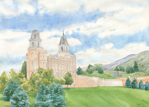 Watercolor painting of the Manti Utah Temple on a green hill with blue sky.