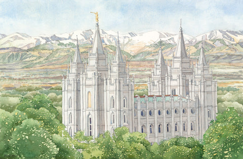 Watercolor painting of the Salt Lake Utah Temple surrounded by green trees.