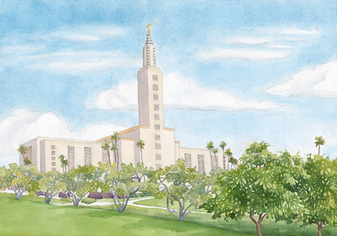 Watercolor painting of the Los Angeles California Temple.