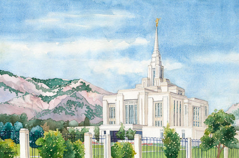 Watercolor painting of the Ogden Utah Temple with mountain in the background.