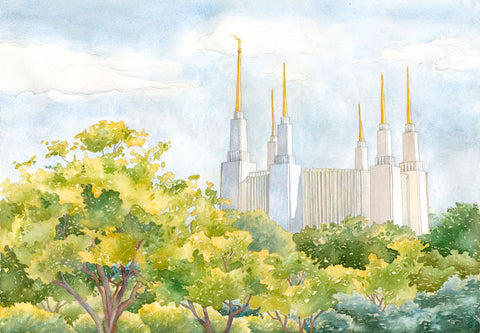 Watercolor painting of the Washington DC Temple behind green trees.
