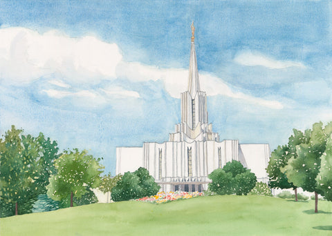 Watercolor painting of the Jordan River Utah Temple