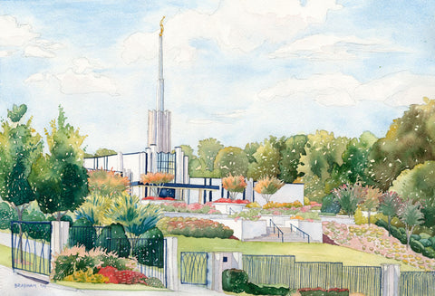 Watercolor painting of the Atlanta Georgia Temple, blue skies.