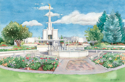 Watercolor painting of the Denver Colorado Temple with blue skies.