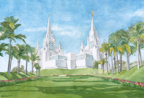 Watercolor painting of the San Diego California Temple with blue skies.