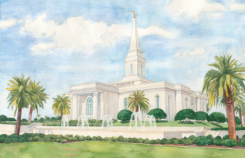 Watercolor painting of the Orlando Florida Temple with blue skies.