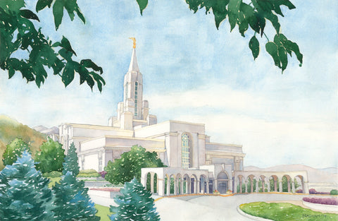 Watercolor painting of the Bountiful Utah Temple with blue skies.