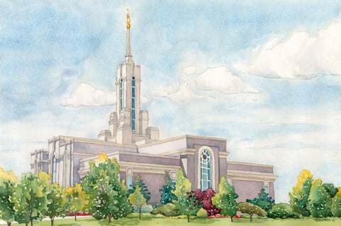 Watercolor painting of the Mount Timpanogos Utah Temple.