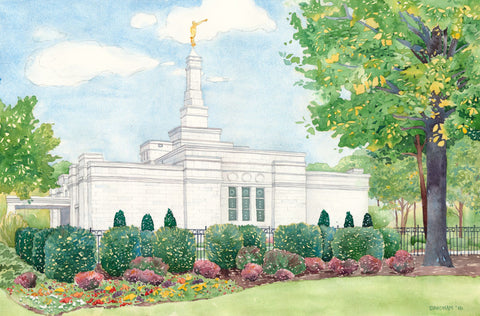 Watercolor painting of the Nashville Tennessee Temple with blue skies.