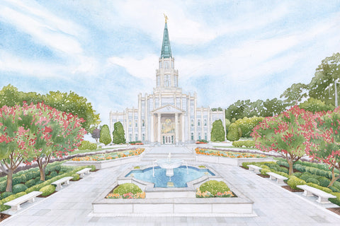 Watercolor painting of the Houston Texas Temple.