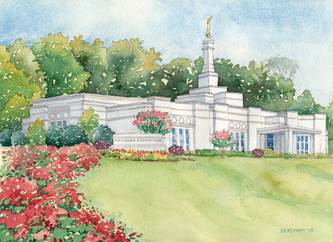 Watercolor painting of the Birmingham Alabama Temple with blue skies.