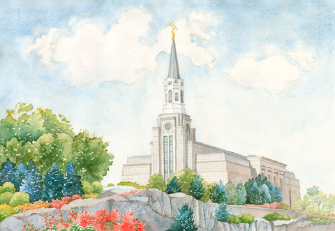 Watercolor painting of the Boston Massachusetts Temple.