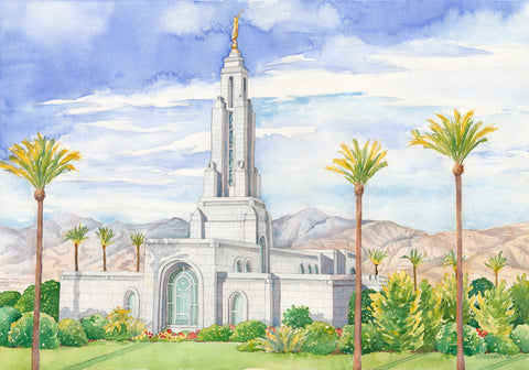 Watercolor painting of the Redlands California Tempe with blue skies.