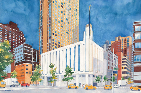Watercolor painting of the Manhattan New York Temple surrounded by city.