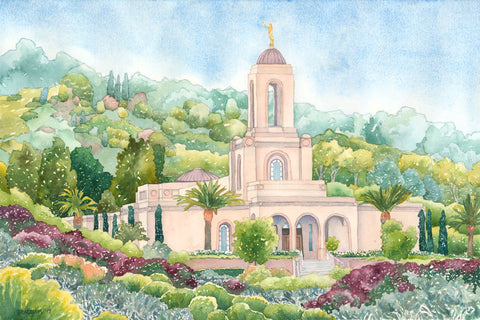 Watercolor painting of the Newport Beach California Temple.