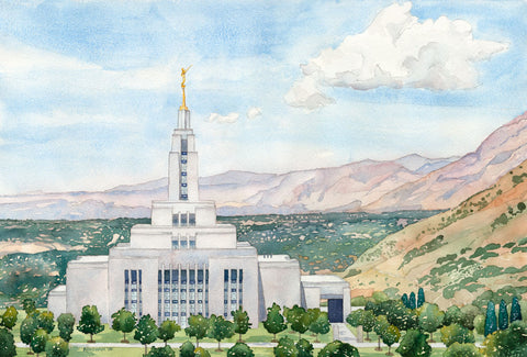 Watercolor painting of the Draper Utah Temple.