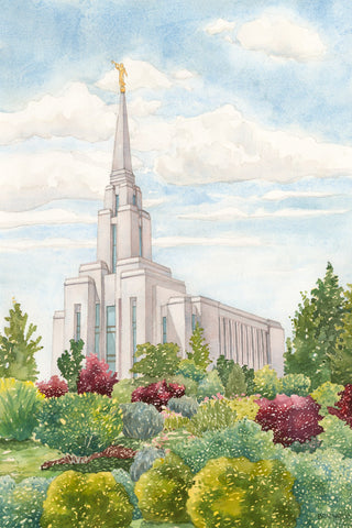 Watercolor painting of the Oquirrh Mountain Utah Temple.