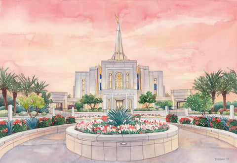 Watercolor painting of the Gilbert Arizona Temple with pink skies.