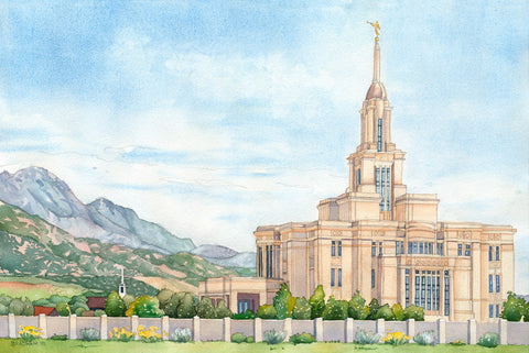 Watercolor painting of the Payson Utah Temple with blue skies.