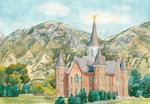Watercolor painting of the Provo City Center Utah Temple with Mountains.