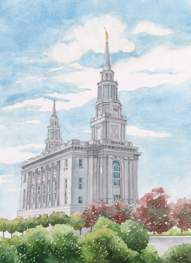 Watercolor painting of the Philadelphia Pennsylvania Temple.