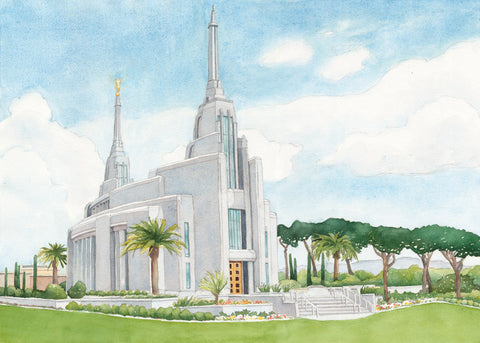 Watercolor painting of the Rome Italy temple.