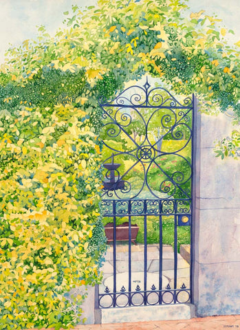 Watercolor painting of a gate with vines symbolizing scripture.