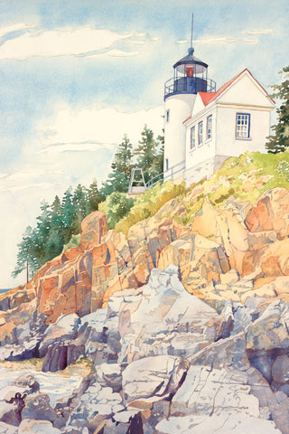 Watercolor painting of a lighthouse symbolizing the light of the world.