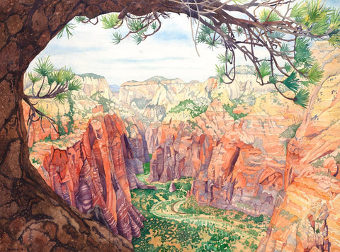 Watercolor painting of a view of red rock cliffs in Zions National Park.