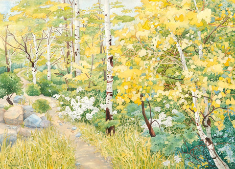 Watercolor painting of a path through aspen trees.