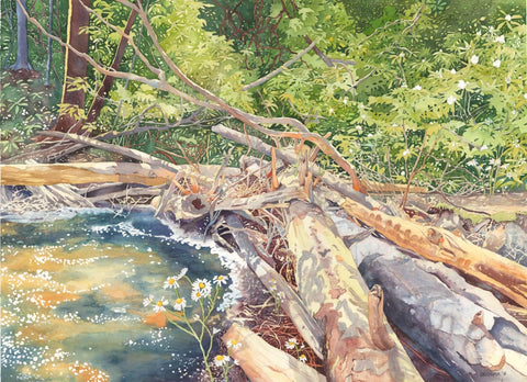 Watercolor painting of trees fallen in a river symbolizing to trust in God.