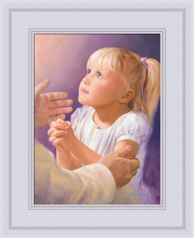 A Child's Prayer 12x14 framed strata design white frame