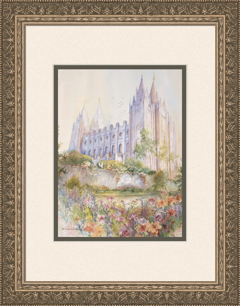 Salt Lake Temple 15x19 framed matted print