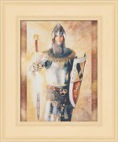 Armour of God 12x14 framed strata design cream frame