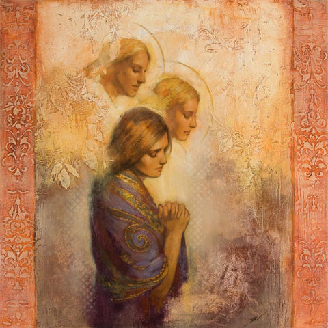 A women praying with two angels above her.