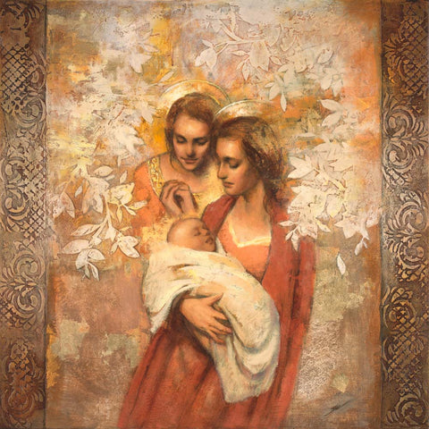 A mother holding a child with an angel watching over them.