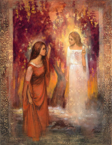 Angel appears to Mary to inform her she will bear the son of God.