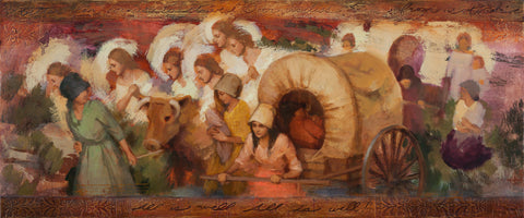 Angels helping women pioneers pull handcarts across the plains.