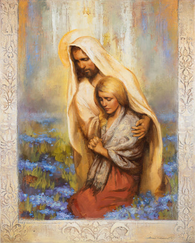 Jesus comforts women while she kneels and prays.