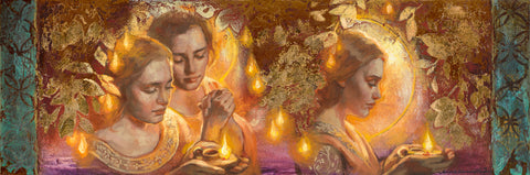 Women holding lamps surrounded by gold leaves.