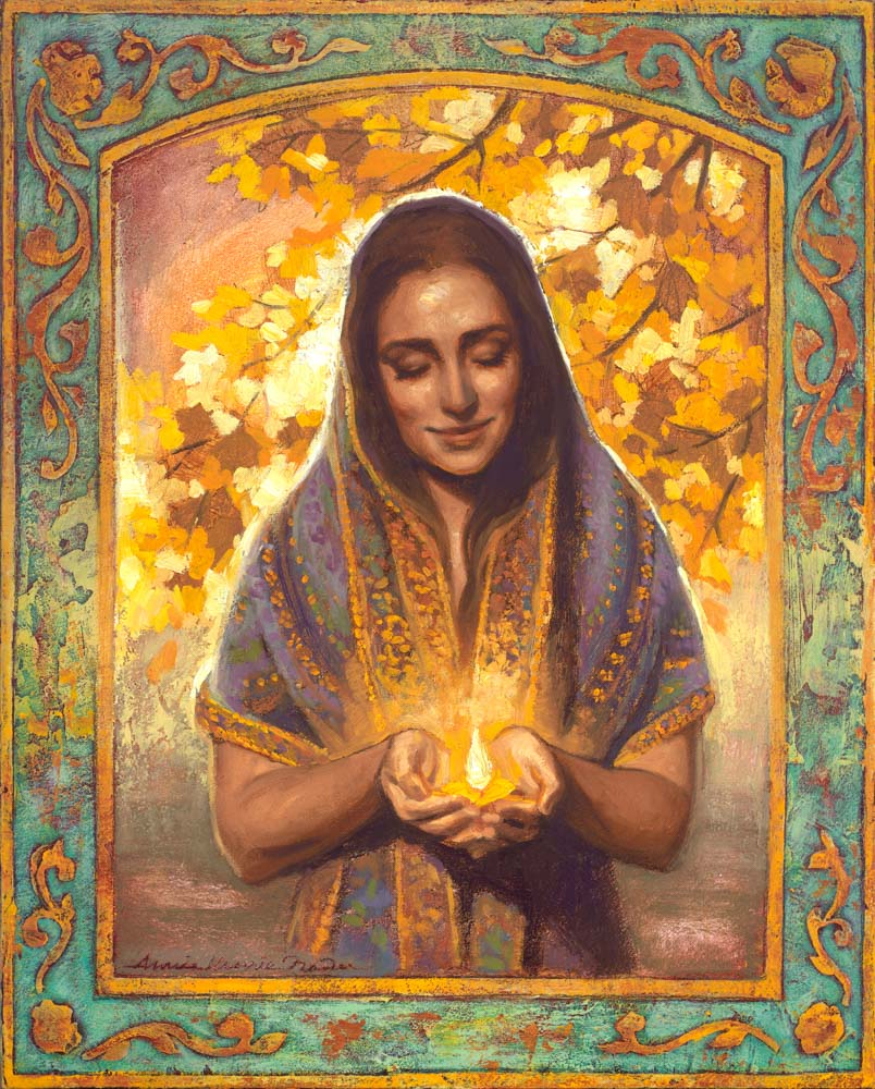 A women holding light in hands looking forward.