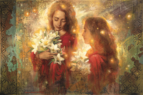 Two women holding easter lilies with light shining behind them.