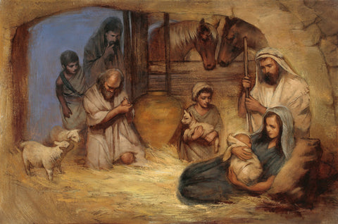 Wise men presenting their gifts to Jesus in the manger.