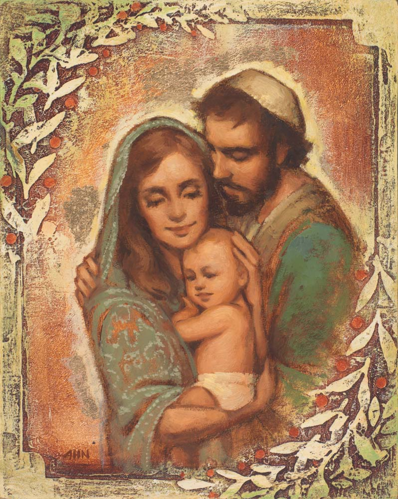 Joseph, Mary, and baby Jesus.