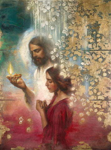 A woman in prayer with Christ standing with her holding a light to guide her.
